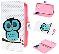 Sleeping Owl Design Wallet PU Leather Case Cover with Stand and Card Slot for Motorola Moto G2 XT1063 Dual SIM