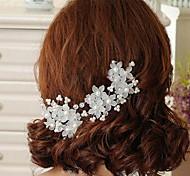 Mode 7cm Frauen weißen Strass-Legierung Haar-Sticks (weiß) (6pcs)