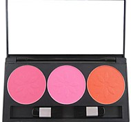 3 Color Professional Blush Blusher Powder Makeup Cosmetic Palette with Mirror&Brush Set Showy Color