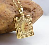 18k oro placcato allah musulmano collana pendente libro