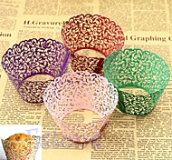 12pcs Hollow Out Lace Cake Paper Wrapper Cupcake Baking Cake Cups Wraps Wedding Decorations Supply