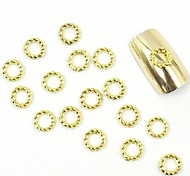 100PCS 3D Gold Nail Jewelry Metal Wedding Ring for False Acrylic Molds Nail Art Decorations