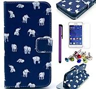 patrón alfombra elefante caso de cuero de la PU con el protector de pantalla, aguja y el enchufe del polvo para samsung galaxy core 2