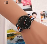 Women's Round Dial Stripe Fabric Band Quartz Fashion Watch(Assorted Colors) Cool Watches Unique Watches