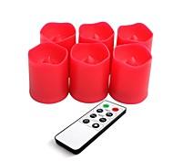 conjunto de 6 plástico de cor vermelha levou velas votivas com controle remoto e timer