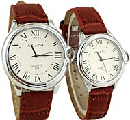 Couple's Round Dial Rome PU Band Quartz Fashion Watch (Assorted Colors)