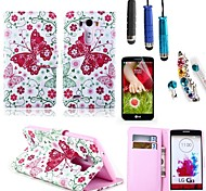 Beautiful Butterfly Pattern PU Leather with Card Holder with Stylus, Protective Film and Diamond Dust Plug for LG G3