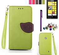 Leaf Design PU Leahter Case with Film,Stylus and Dust Plug for Nokia Lumia 520 (Assorted Colors)