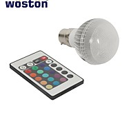 WOSTON  B22 3W Integrate RGB Light LED Globe Bulb with Remote Control (85-256V)