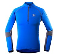 Outdoors Men's Polyester and Spandex Blue Long Sleeve Quick Dry T-shirt