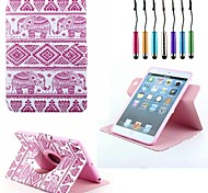 Pink Elephant Pattern PU Full Body Case Revolving And Stand Case for iPad mini 1/2/3