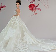 Barbie Doll White Floral Lace Trailing Wedding Dress