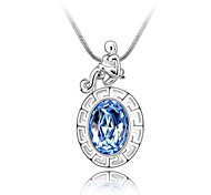 Zodiac Aquarius Short Necklace Plated With 18K True Platinum Light Sapphire Crystallized Austrian Crystal Rhinestone
