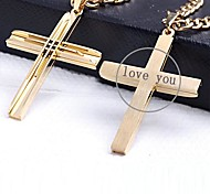 Personalized Gift Gold Color Cross Shaped Stainless Steel Engraved Jewelry