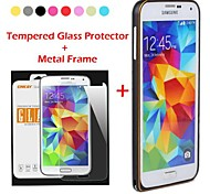 ENKAY Metal Style Frame Bumper Case with Tempered Glass Screen Protector for Samsung Galaxy S5 i9600 (Assorted Colors)