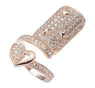 Fashion 925 sterling Silver Rose Gold Plated(925 sterling Silver Gold Plated) Cubic Zirconia Nail Ring