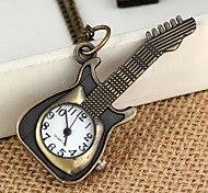 Unisex Guitar Style Vintage Alloy Quartz Analog Necklace Watch