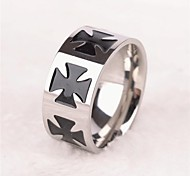 Z&X®  Punk Style 10mm Width Cross Titanium Steel Men's Ring