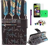 arco e flecha padrão caso leahter pu com filme, caneta e ficha de poeira para nokia lumia 630/635