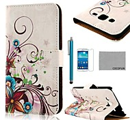 COCO FUN® Purple Rose Silk Pattern PU Leather Case with Screen Protector and Stylus for Samsung Galaxy GRAND 2 G7106