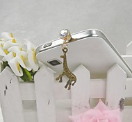 Fashion Delicate Giraffe Shape Alloy Diamante Anti-dust Plug for Universal Mobile Phone