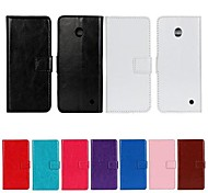 Solid Color PU Leather Full Body Case with Stand and Card Slot for Nokia Lumia N630 (Assorted Color)