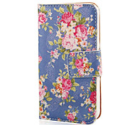 COCO FUN® Rose Blue Pattern PU Leather Full Body hoesje with Screen Protector, Stand and Stylus for iPhone 4/4S