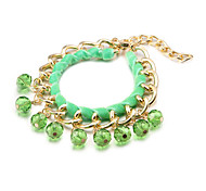 Fashion Colorful Crystal Multicolor Fabric Alloy Charm Bracelets(1 Pc)(More Color)