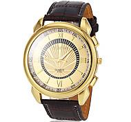 Men's Gold Dial Leather Band Quartz Dress Watch
