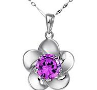 925 Women's Floral Print Necklace