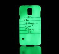 Phrase Pattern Glow in the Dark Hard Case for Samsung Galaxy S5