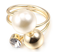 Mode große Perle goldenen Legierung Bandringe (1 PC)