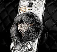 Luxury Fashion Real Rex Rabbit Fur 3D Crystal Diamond Fox Bling Case for Samsung Galaxy Note 4 IV N9100