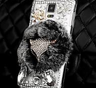 rex verdadero 3d caja de cristal de diamante de Bling del zorro de piel de conejo de la moda de lujo para el Samsung Galaxy Note 4 iv n9100