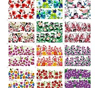 12Pcs 2D Water Transfer Nails Nail Sticks Decal With Bird Flower Pattern Mixed