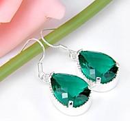 récents goutte classique quartz vert de pierres précieuses boucles d'oreilles argent tous les jours 1pair