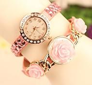Мода Кожаный ремешок женская розовый кварц аналоговых часы (разных цветов)