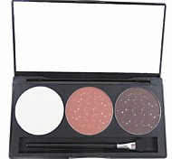 3 Color Brown Shimmer Glitter Powder Professional Eye Shadow Makeup Cosmetic Palette with Mirror&Applicator Set 6#