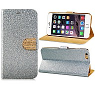 Sparkling Faux Leather Flip Case with Mount Stand & Credit Card Slots for  iPhone 6 (Assorted Colors)