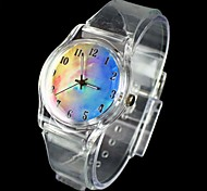 Women's Fantasy Sky Pattern Transparent Band Quartz Analog Wrist Watch Cool Watches Unique Watches