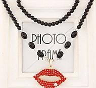 European Style Fashion Personality Flash Diamond Lips Black Metal Beads Long Necklace
