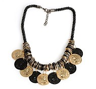 Fashion Antique Black and Gold Coins Tassel Women Necklace
