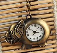 unisex estilo elefante quartzo liga analógico colar relógio (bronze)