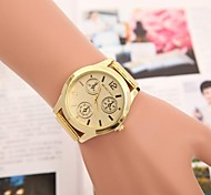 Women's Gold Round Case Alloy Band Quartz Fashion Watch Cool Watches Unique Watches