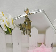 Fashion Delicate Horse Shape Alloy Diamante Anti-dust Plug for Universal Mobile Phone