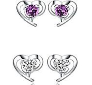 925 Women's Heart Print Earrings