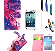 Flame PU Leather with Stylus、Protective Film and Dust Plug for Samsung Galaxy S4 Mini I9190
