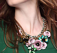Jane Stone New Arrival  Colorful Rhinestone  Flower Necklace Women Fashion Accessories