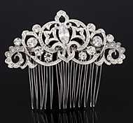 8.1cm Graceful Flower Hair Comb for Bridal Wedding Prom with Clear Rhinestone and Zircon