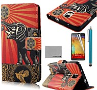 COCO FUN® Flower Elephant Pattern PU Leather Case with Screen Protector, Stylus and Stand for Samsung Galaxy Note 3